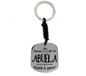 """Llavero Happy acero y piel """"llaves de la ABUELA ¡Cuánto te quiero!"""""""
