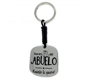 """Llavero Happy acero y piel """"llaves del ABUELO ¡Cuánto te quiero!"""""""