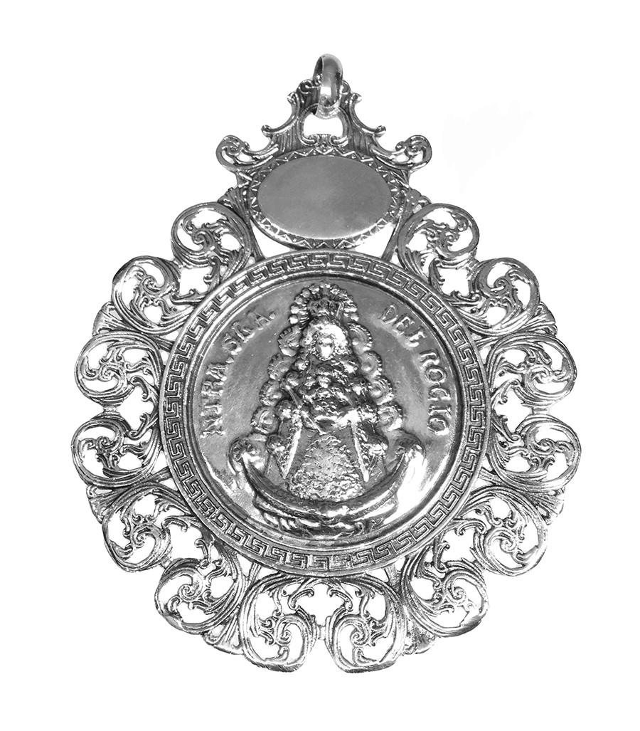 Medalla Cuna Carro Bebe Metal Plateado Virgen Del Rocio
