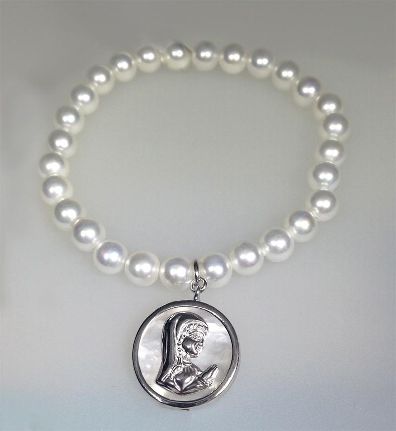 Pulsera Para Ni 241 A Y O Mujer De Perlas Con Medalla Colgando