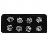 Pendientes plata nudo de cuatro hilos 8 mm.