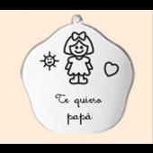"""Llavero en plata. """"Te quiero papá"""". Ref.00543-EN01"""
