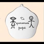 """Llavero en plata. """"Te queremos papá"""". Ref.00543-EN01"""