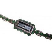 Reloj plata vintage con zirconitas y esmeraldas