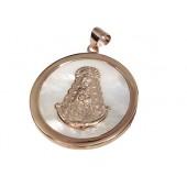 Medalla Virgen del Rocío nácar cerco plata cobriza. Ref. F&J-138066C