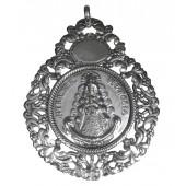 Medalla cuna metal plateado Virgen del Rocío. Ref. SS-251528ME
