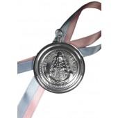 Medalla cuna o carro Virgen del Rocío metal plateado. Ref. SS-251128ME