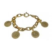 Pulsera metal chapado dorado y monedas mujer