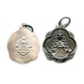 Medalla plata Virgen del Rocío pandereta con escudo