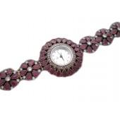 Reloj plata vintage con gotas de rubies
