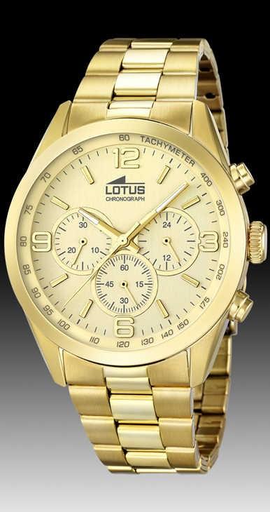 991c573e29f4 Reloj lotus caballero acero dorado