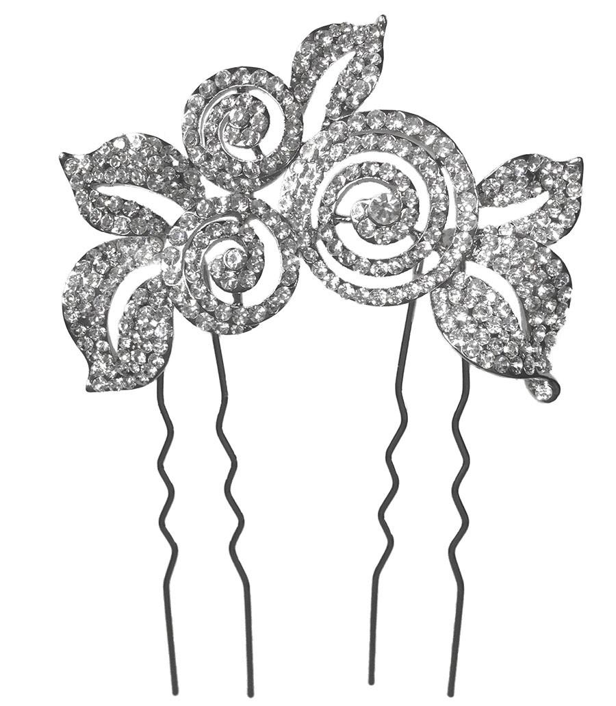 peinecillo  metal  plateado  circonitas  boda  novia
